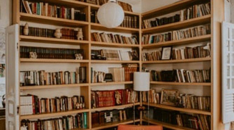 Un librero en una biblioteca Descripción generada automáticamente